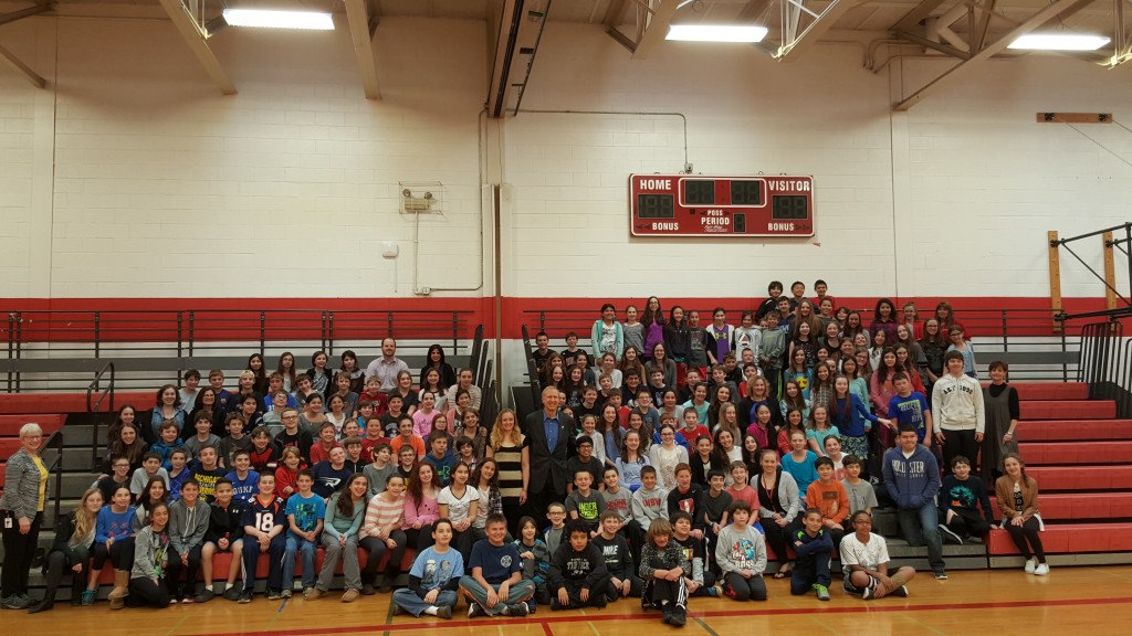 The Governor with our sixth grade students and teachers