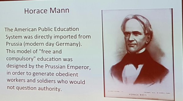 While he is a man who deserves GREAT credit for much of Public Schooling - it's time to move beyond rigid 19th Century structures!